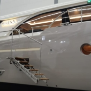 Golden Gate boarding ladder of Swissway installed in the Altena Yachts' show model Altena 52 DC